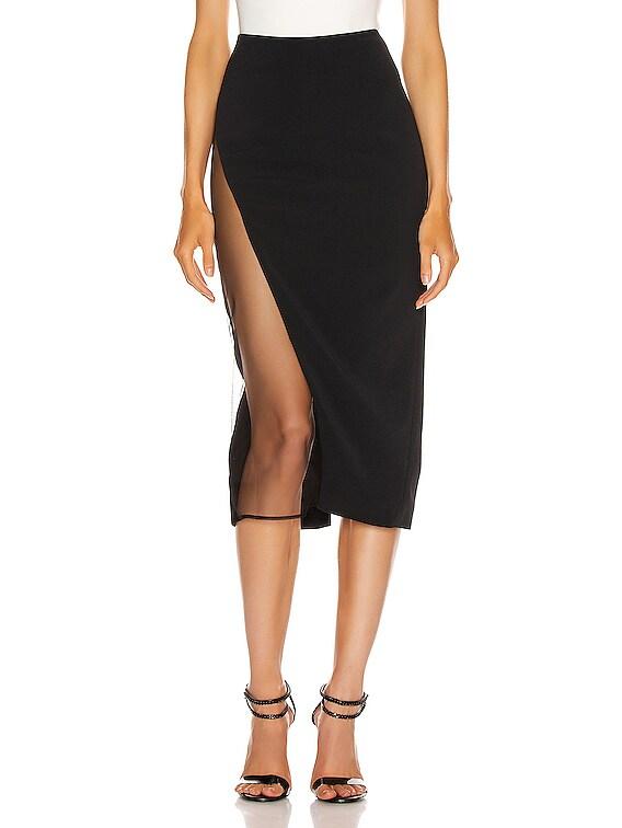 Asymmetrical Pencil Skirt in Black