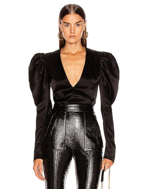 Puff Sleeve Bodysuit in Black