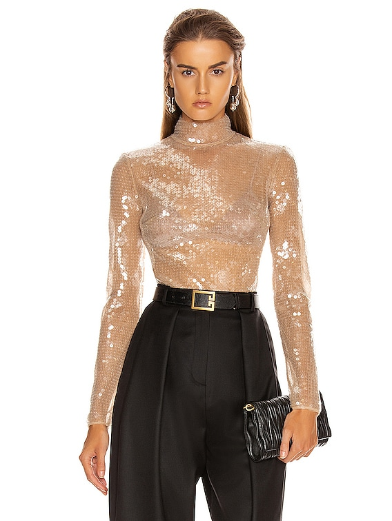 Sequins Bodysuit in Beige