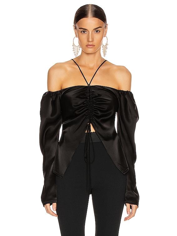 Off Shoulder Ruched Open Top in Black