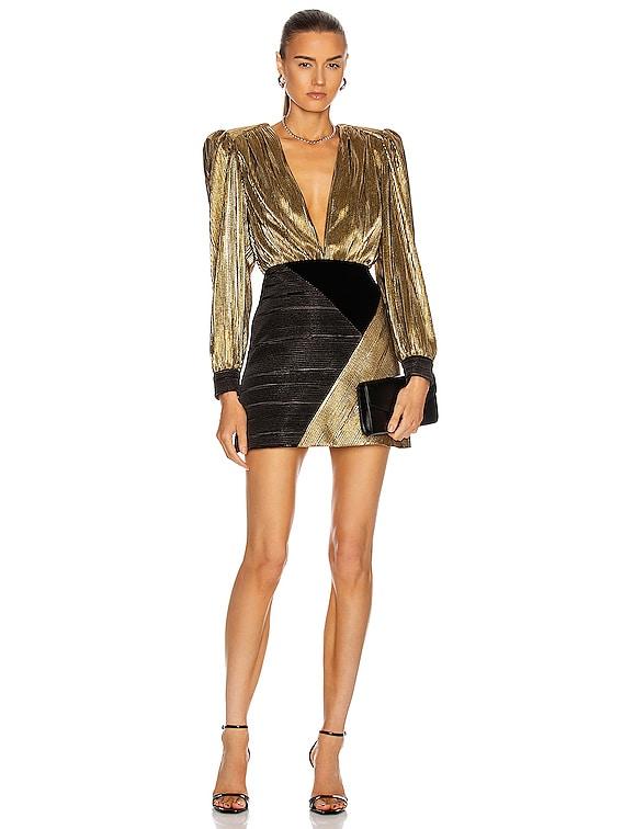 Plunging Colorblock Mini Dress in Gold & Black