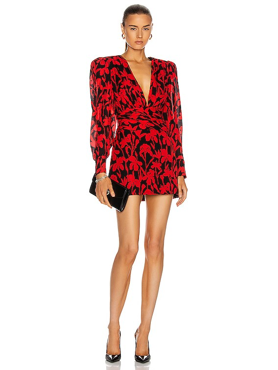 Cinched Waist Floral Mini Dress in Red & Black Print