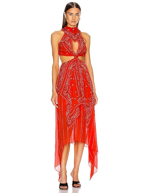 Bandana Knot Dress in Poppy