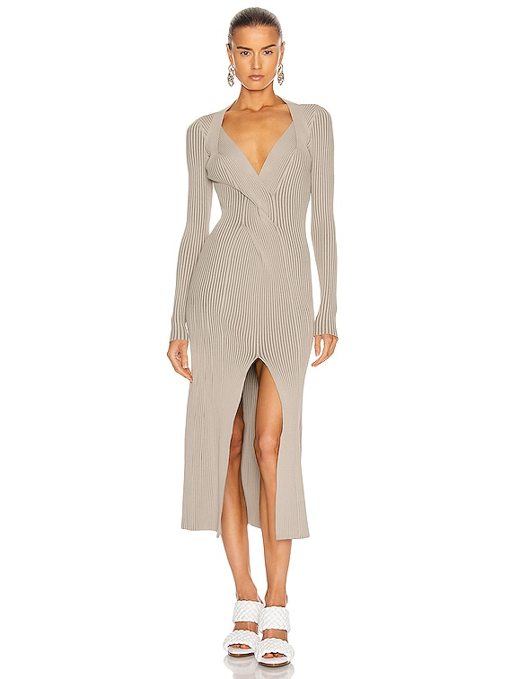 Cable Twist Dress in Taupe & Slate Green