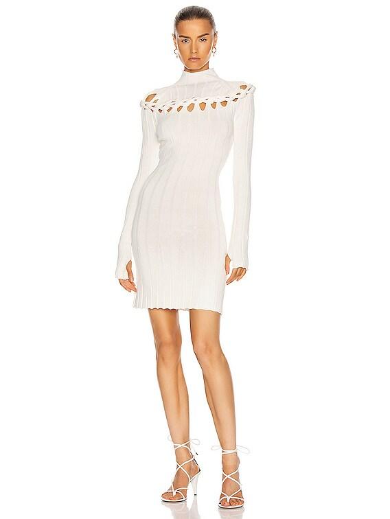 Braid Skivvy Mini Dress in Ivory