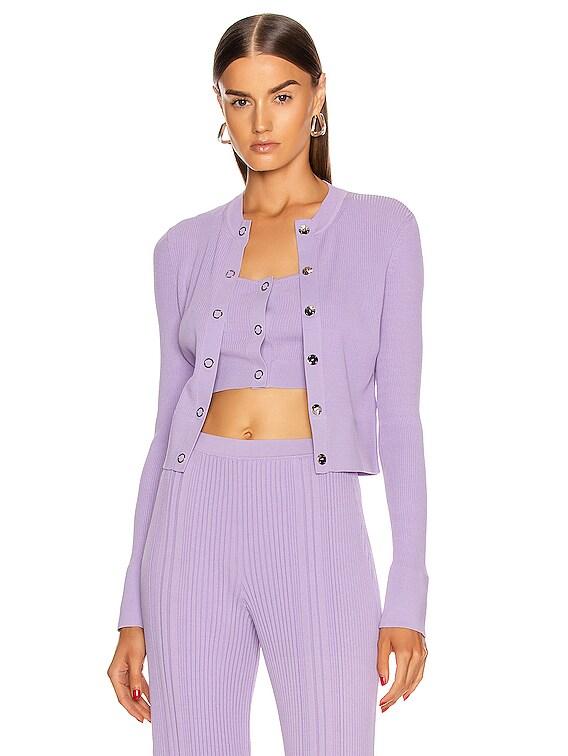 Pinnacle Pleat Cardigan in Violet