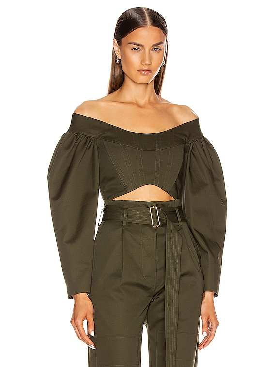 Convex Twill Bustier Top in Olive