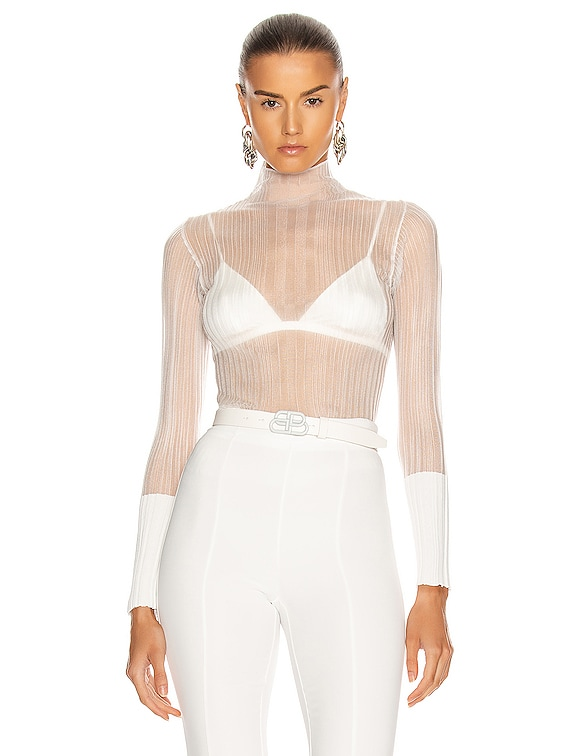 Opacity Pleat Long Sleeve Top in Ivory