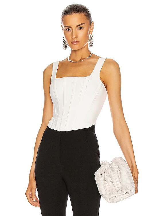 Pointelle Corset Top in Ivory
