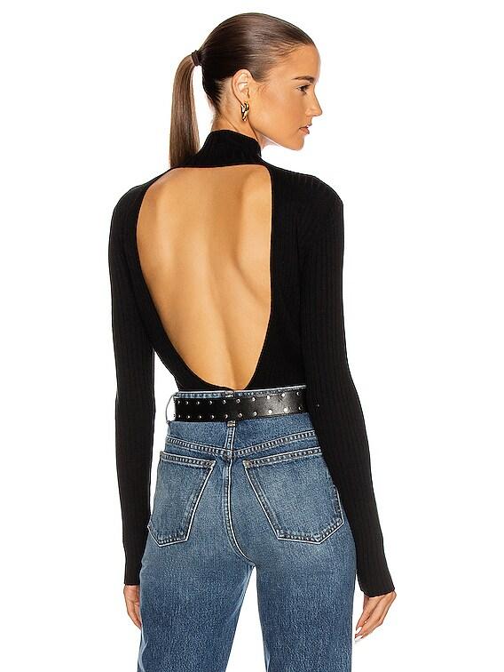 Scoop Back Long Sleeve Top in Black
