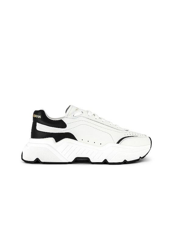 Low Top Sneaker in White & Black