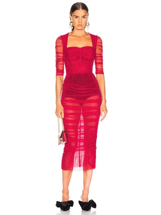Dolce \u0026 Gabbana Ruched Tulle Midi Dress