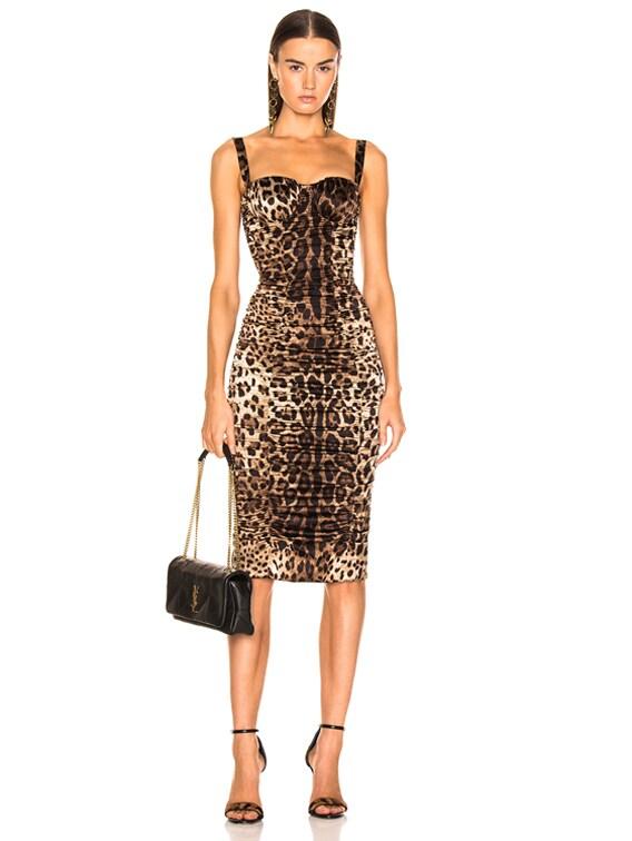 Leo Print Silk Ruched Dress in Cheetah