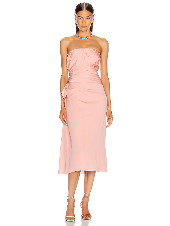 Strapless Midi Dress in Light Powder Rose