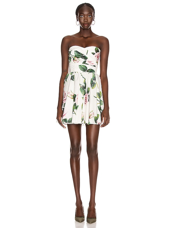 Strapless Floral Mini Dress in Rose
