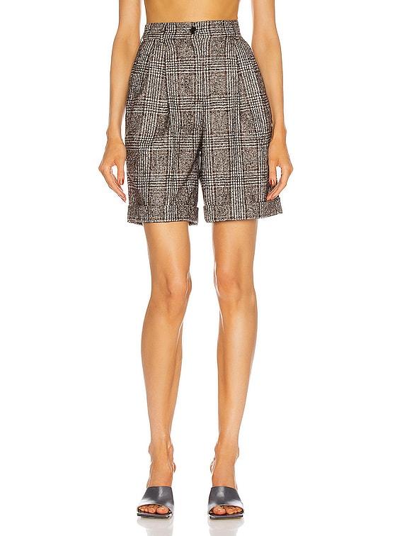 Tailored Bermuda Short in Black & Brown Check