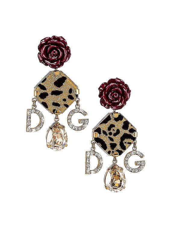 Leo & Roses Crystal Logo Earrings in Gold