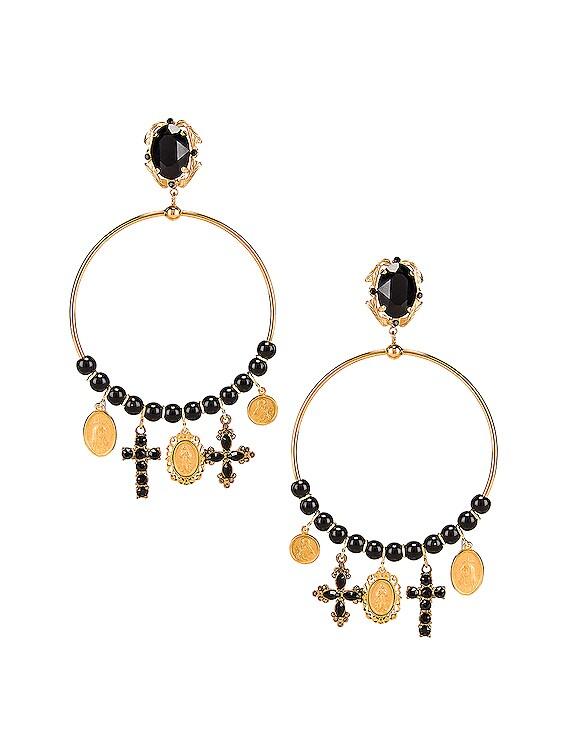 Cross Embellished Hoop Jewel Earrings in Black