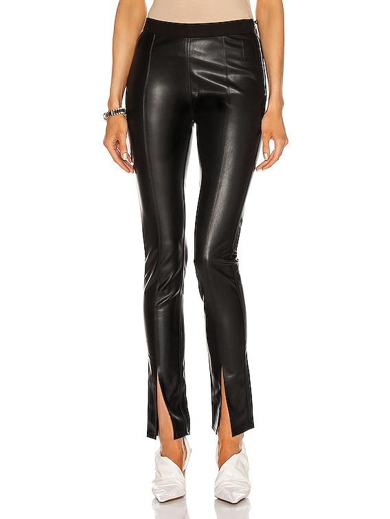 Vegan Leather Slit Front Legging in Black