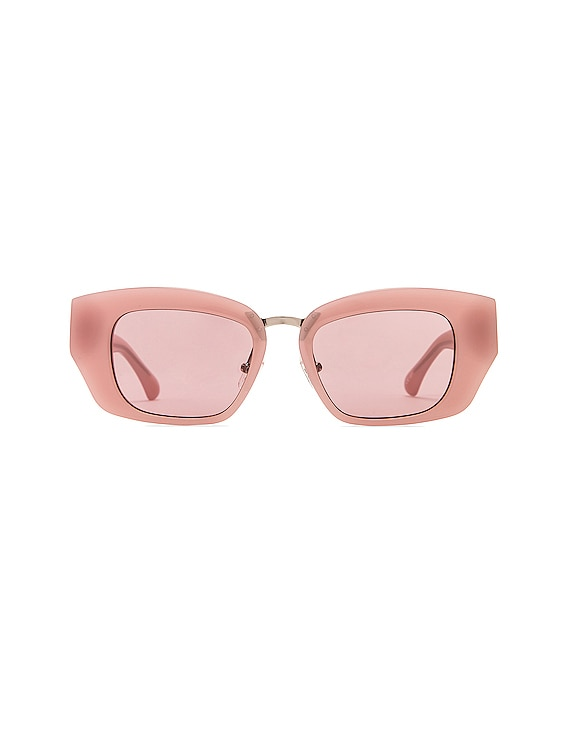 Square Frame Acetate Sunglasses in Rose & Silver