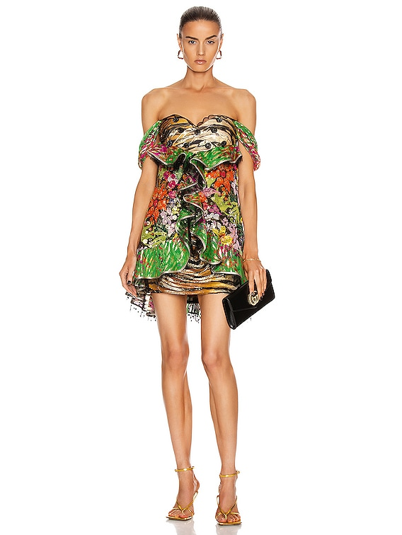 Strapless Printed Ruffle Mini Dress in Black & Multi