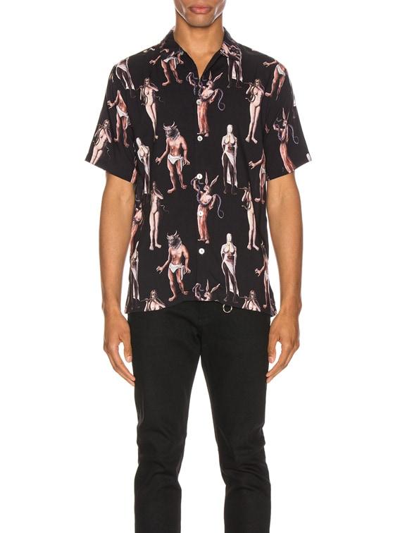 Hamlets Mill Aloha Shirt in Black & Multi