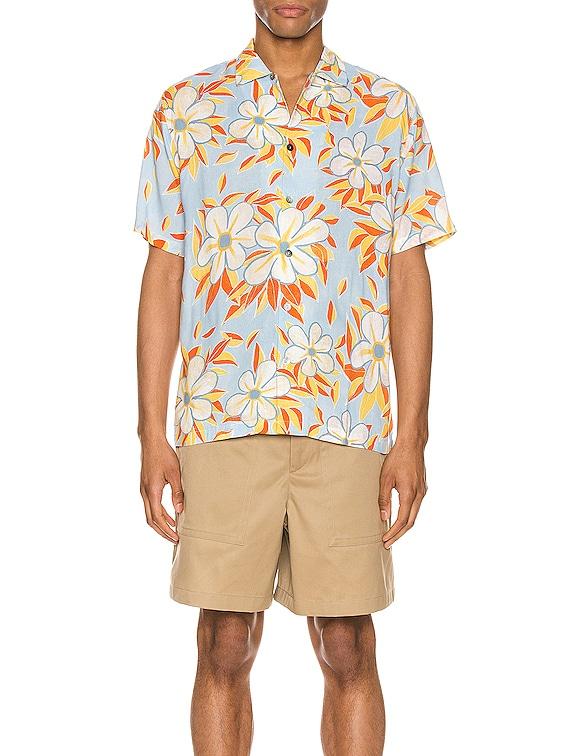 Acid Flower Aloha Shirt in Sky Multi