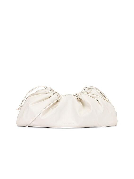 1.3 Maxi Drawstring Bag in White Nappa Leather