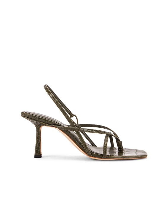 Vegan 2.4 Flip Flop Heel in Olive Croc Leather