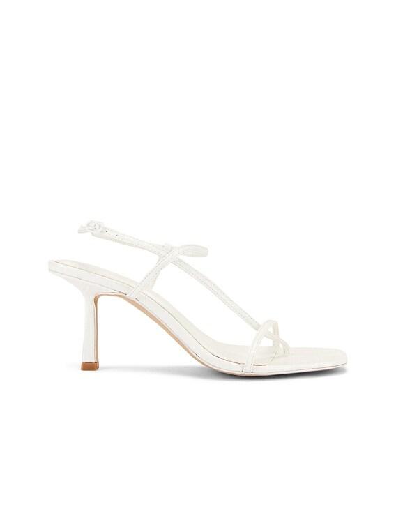 Vegan 2.5 Cross Over Heel in Off White Croc Leather