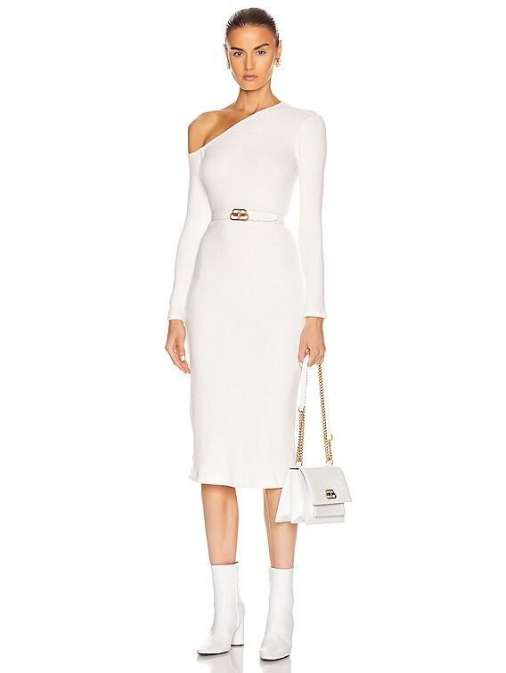 Sweater Knit Angled Neck Midi Dress in Winter White