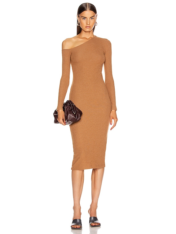 Sweater Knit Angled Neck Midi Dress in Amber