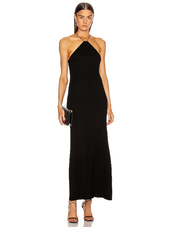 for FWRD Silk Rib Halter Fitted Ankle Dress in Black