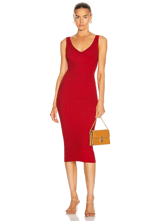 for FWRD Mini Rib Sweater Knit Tank Midi Dress in Tomato