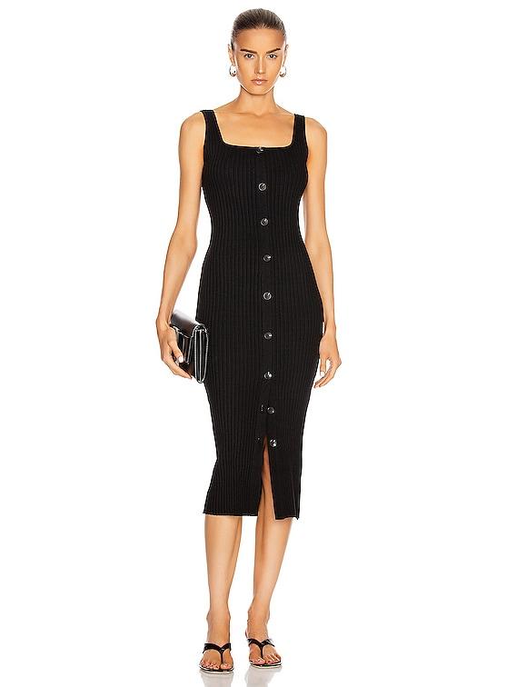 Military Cotton Rib Button Front Midi Dress in Black