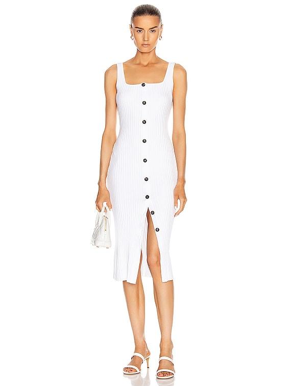 Military Cotton Rib Button Front Midi Dress in White