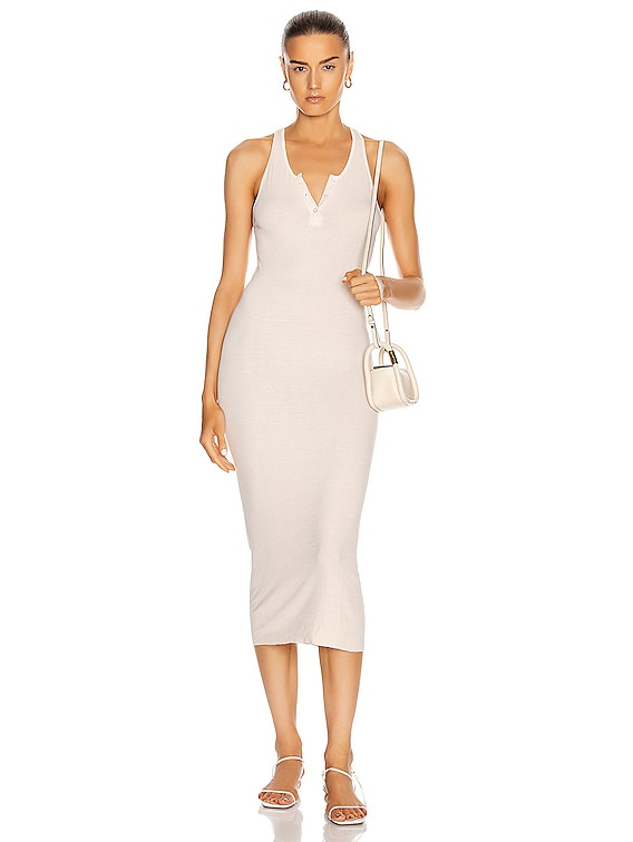 Silk Rib Henley Tank Midi Dress in Natural