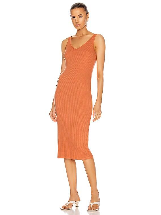 Luxe Rib V-Neck Midi Dress in Bisque