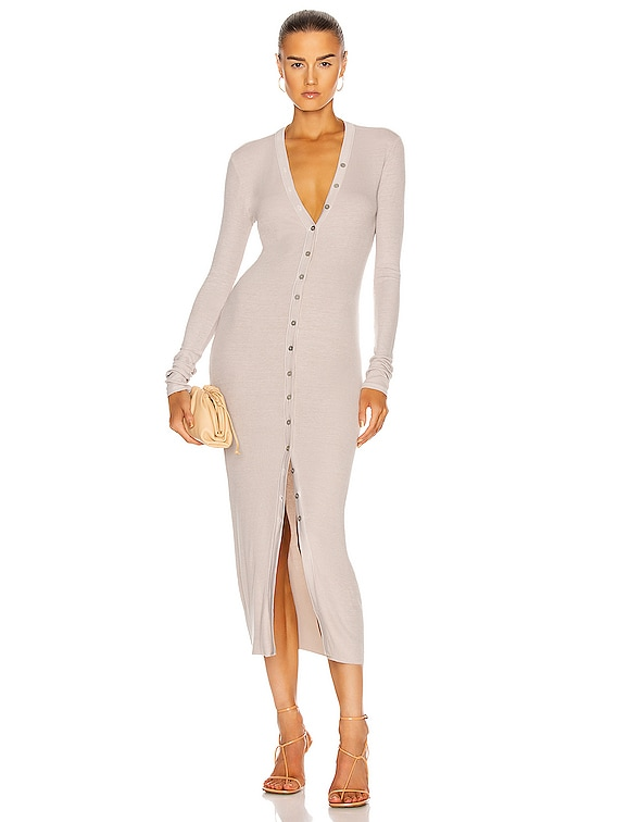 for FWRD Silk Rib Cardigan Midi Dress in Stone