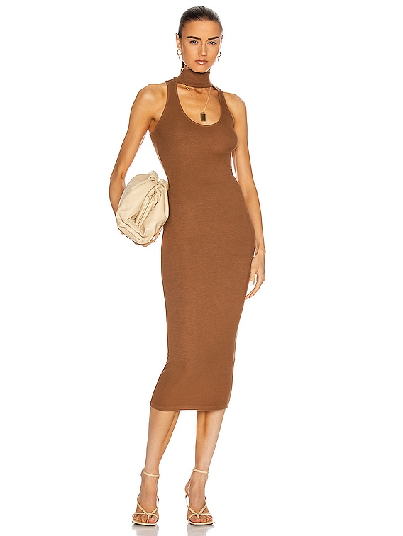 Silk Rib Detached Mockneck Sleeveless Midi Dress in Gold