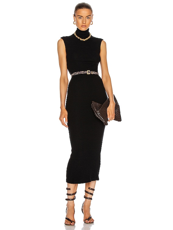 Sweater Knit Sleeveless Turtleneck Dress in Black