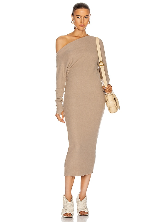 Sweater Knit Slouch Dress in Taupe
