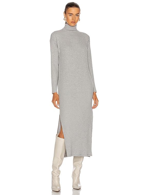 Sweater Rib Turtleneck Sheath Dress in Heather Grey