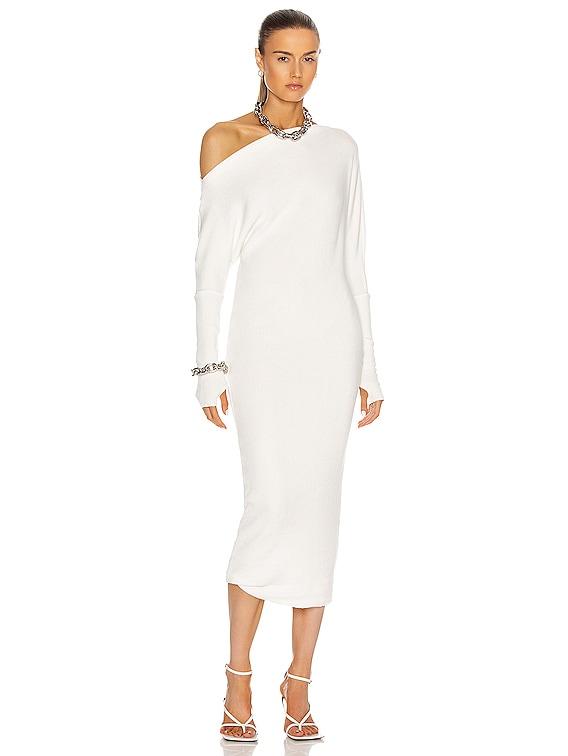 Sweater Knit Slouch Dress in Winter White