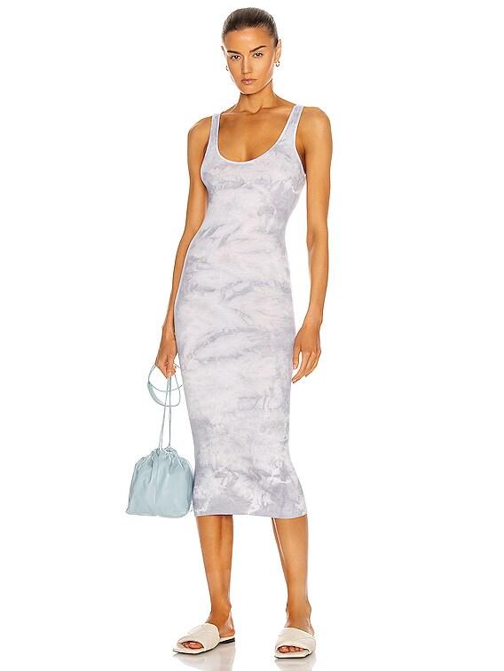 Silk Rib Tank Midi Dress in Vapor Ionic