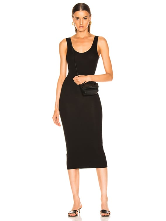 Rib Tank Viscose-Blend Dress in Black