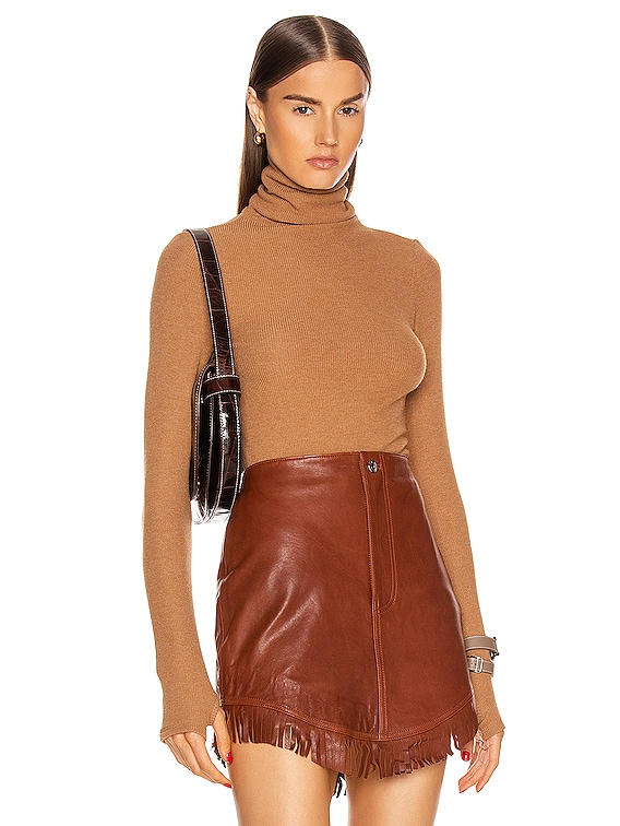 Sweater Knit Long Sleeve Turtleneck Top in Amber