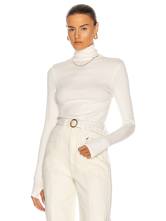 Tencel Cashmere Rib Long Sleeve Fitted Turtleneck Sweater in Winter White