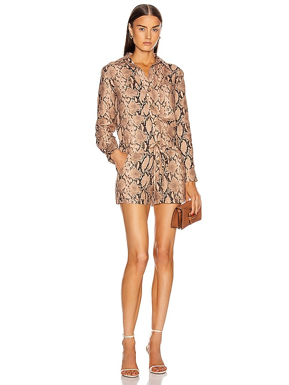 Long Sleeve Romper in Sand Python