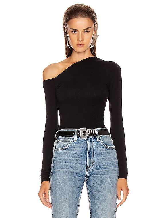 Angled Exposed Shoulder Long Sleeve Top in Black
